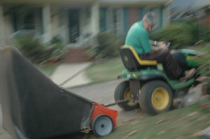 Whizzing Around the Yard with an Agri-Fab Clean-Sweep Yard Sweeper