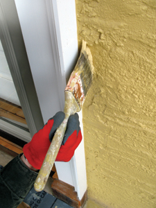 """We paint the trim first, and then """"cut in"""" the walls around the trim."""
