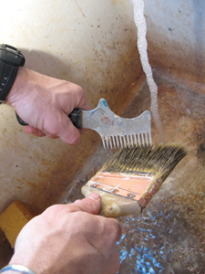 Purchase a quality brush and clean the bristles with water (for latex paint) and a brush cleaner like Hyde's 45960. Take care of your brush, and it should last for years.