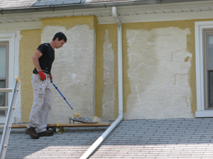 """Move the roller slowly and methodically. A roller only dispenses paint for three to six passes. Once you're only """"spreading"""" paint, the roller needs to be recharged. Two coats are always required."""
