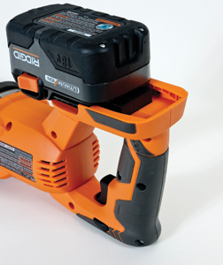 Most of today's cordless saws feature a slip-on style battery pack.