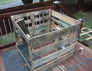 I cobbled together the box from old shipping pallets.