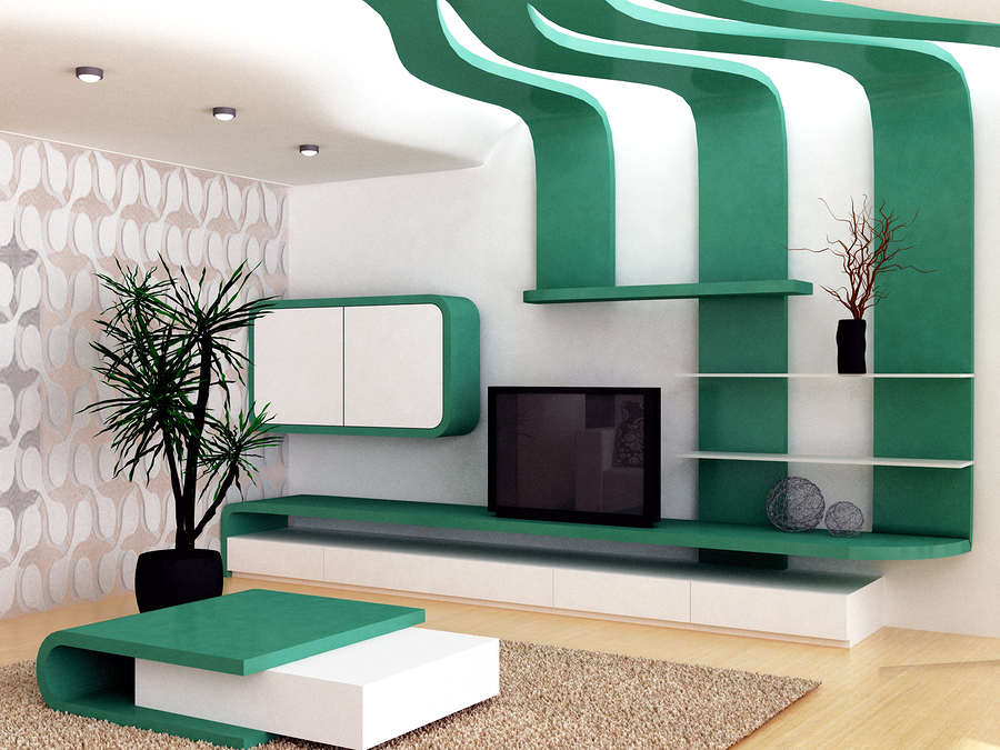 a 3d render of a futuristic living-room