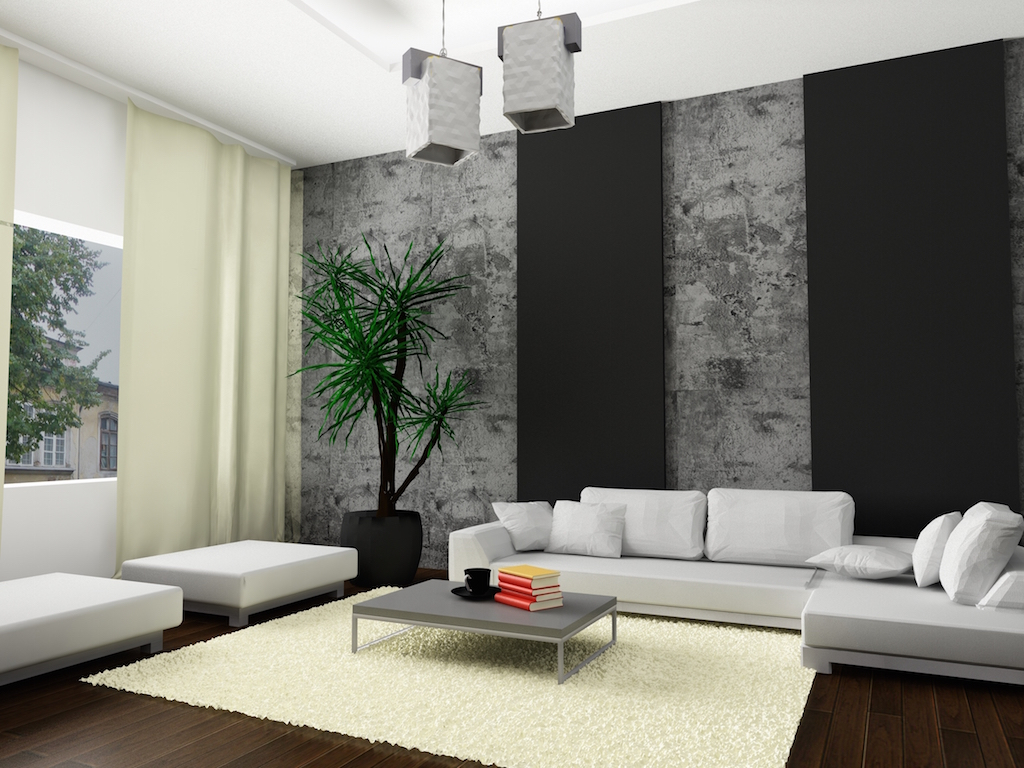 a modern and minimal home interior, with a white couch.