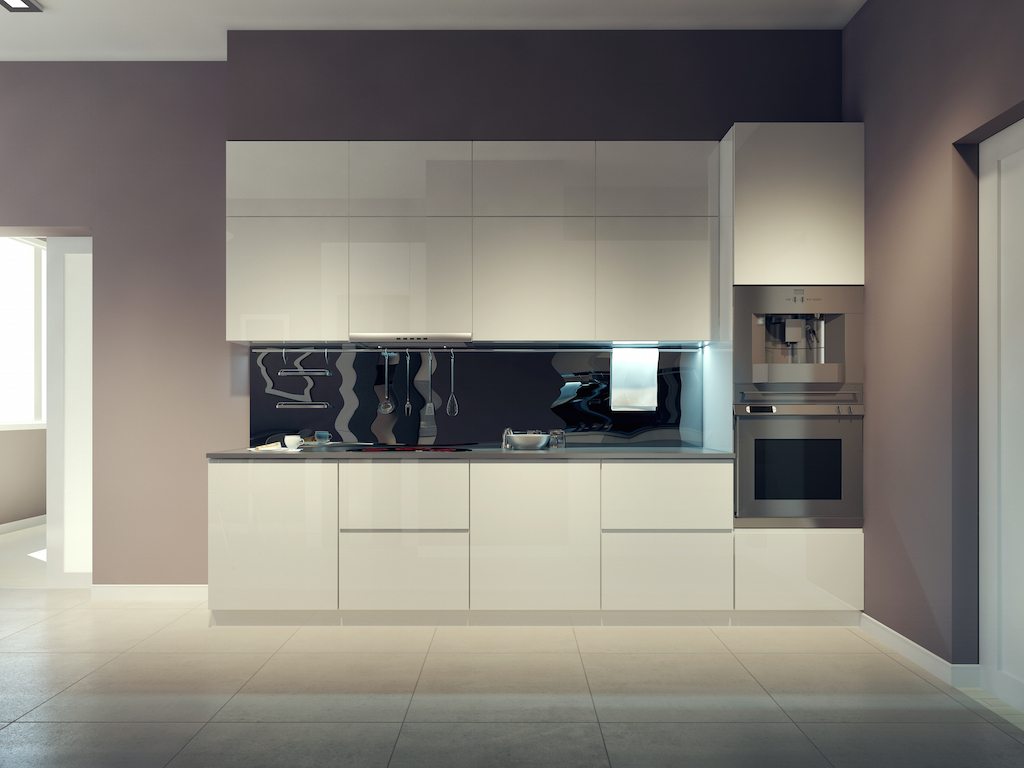 Modern kitchen design, white kitchen furniture. 3d render