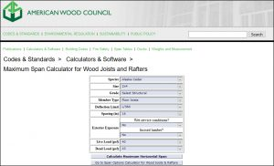 Span Calculator for Wood Joists & Rafters