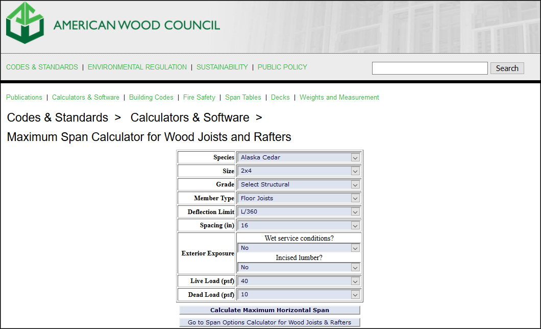 Span Calculator for Wood Joists
